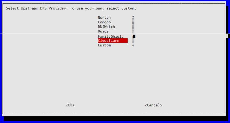 Choisissez Cloudflare pour DNS en amont