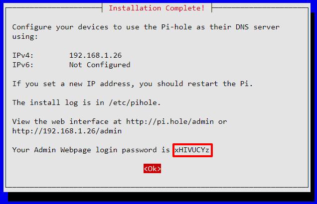 Installation de Raspberry Pi PiHole terminée